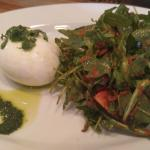 Burrata, pesto, arugula salad