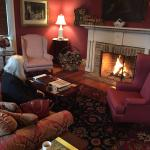 Front parlor of the Manor House made warm with a fire before breakfast!
