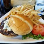 Angus burger with blue cheese  and parmesan fries