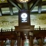 the clock above the bar area