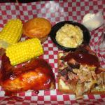2 meat Combo (BBQ chicken & pork) corn & mac n cheese & amazing cornbread!!!