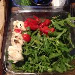 Mozzarella, arugula, basil and cherry tomato salad with balsamic glaze