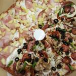 Half Hawaiian and half everest pizza