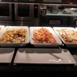 Daly's Restaurant - brunch items - chicken, pasta, salmon, rice, sauteed vegetables.