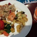 Daly's Restaurant - brunch - salmon, sauteed vegetables, pasta, carrot juice.