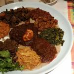 Our Veggie and Meat Combo Platter at Enjera