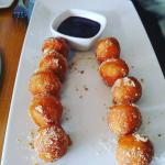 Warm DOH-nut holes with Caramel Drizzle & Beer Berry Dipping Sauce