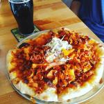 BBQ Chicken Pizza and Three Threads Porter