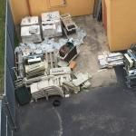 The view from our room is toilets and garbage. Look at the wonderful color scheme of our room, t