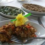 crabcakes, creamed spinach, and sweet potato casserole
