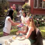 Celebrating holi in kathmandu garden house.