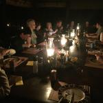 Atmospheric evening dinner ... plenty of stories and laughs.