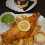 Beautiful fresh fish and chips in cosey surroundings...super huge large portion!