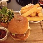 Veggie burger and chips -not much choice for vegetarians.