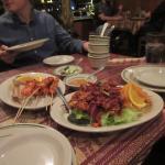 Chicken satay and calamari spicy salad