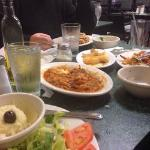 Beef stew, Greek salad, Pasta with meet sauce.