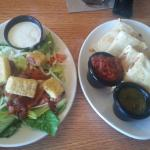 Chicken quesadilla & salad makes a great lunch combo