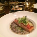 Roasted King salmon on beluga lentils.