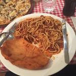 Chicken schnitzel with spaghetti bolognaise