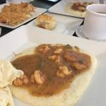 Smothered shrimp with grits