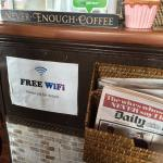 The counter - free Wifi & newspapers