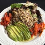 Tri-colour quinoa, red peppers, portabella mushrooms and avocados.