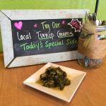 We are adding hot side items, too.  Southern Turnip Greens!