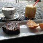 Chocolate brownie best in the world, cafe con leche, fresh OJ