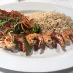 Shrimp on a Skewer with Brown Rice and Salad