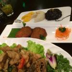 Mango rice, fish cakes, fried fish