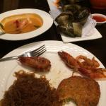 glass noodles, leaf wrapped chicken, tom yum soup