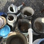 Vintage buckets, enamelware and more