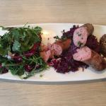 Bratwurst, red cabbage, grainy mustard with mixed greens