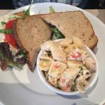 Chicken salad sandwich and pasta salad
