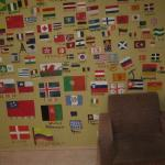 The wall with all the country flags