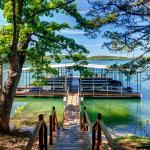 Large dock with swim deck and boat slips