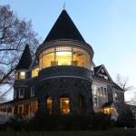 The Marshall Mansion lit up at night