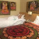 We did redecorate it slightly to give a more Buddha feel to the room.