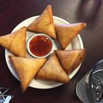 Sambusas with sweet dipping sauce! Delicious!