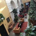 hotel lobby seen from upstairs