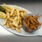 Breaded white bait and chips