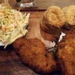Fried chicken, biscuits and cole slaw