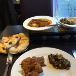 Chicken Jalfrezi, Tandoori Nan and Channa Sag