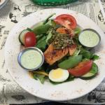 Blackened salmon salad with house dressing