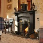 Roaring fire in the Drawing Room