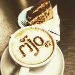 Coffee & walnut cake and cup of coffee