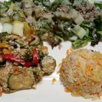 vegetable curry, rise and salad