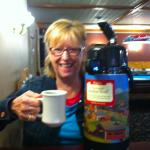 a giant thermos coffee at breakfast