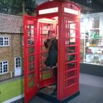 Inside an old fashion phone box and the phone actually rings with an automated voice.