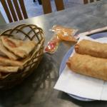 Pancakes and chicken egg rolls